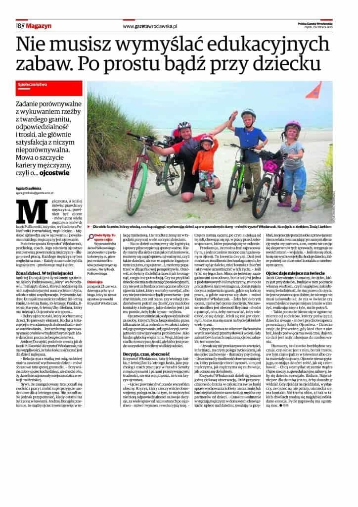 """""""Ojciec powinien być przede wszystkim obecny"""" - Krzysztof Włodarczak na łamach Gazety Wrocławskiej"""